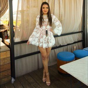 PRINCESS POLLY Indigo Skies Lace Mini Dress